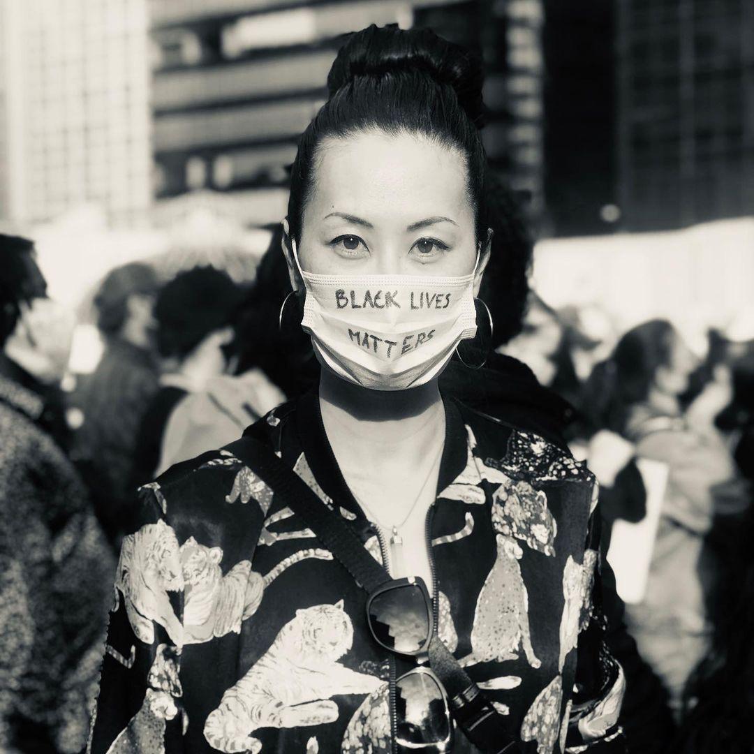 Olivia Cheng at a Black Lives Matter Rally